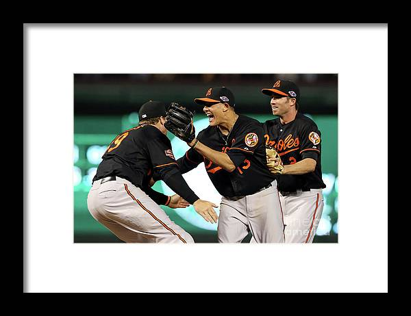 Playoffs Framed Print featuring the photograph Manny Machado and Chris Davis by Ronald Martinez