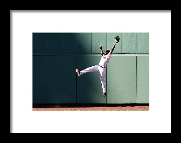 People Framed Print featuring the photograph Manny Machado And Jackie Bradley by Jim Rogash