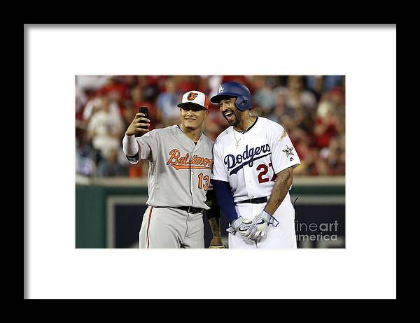 Second Inning Framed Print featuring the photograph Manny Machado and Matt Kemp by Patrick Smith