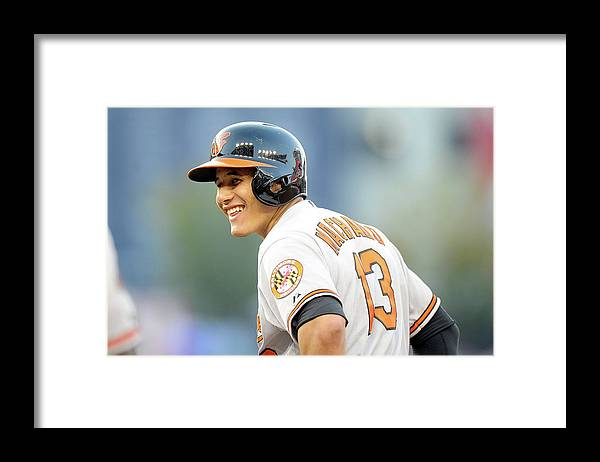 American League Baseball Framed Print featuring the photograph Manny Machado by Greg Fiume