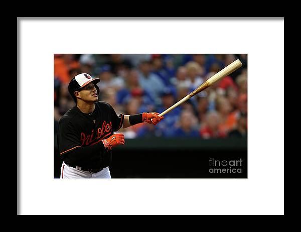 Three Quarter Length Framed Print featuring the photograph Manny Machado by Matt Hazlett