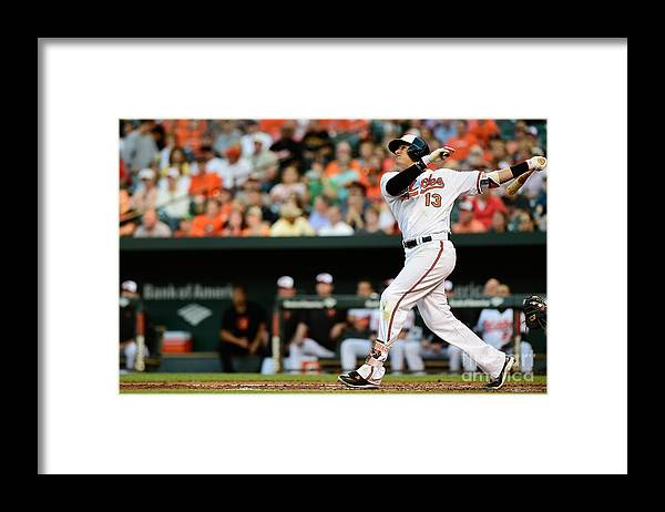 Second Inning Framed Print featuring the photograph Manny Machado by Patrick Mcdermott