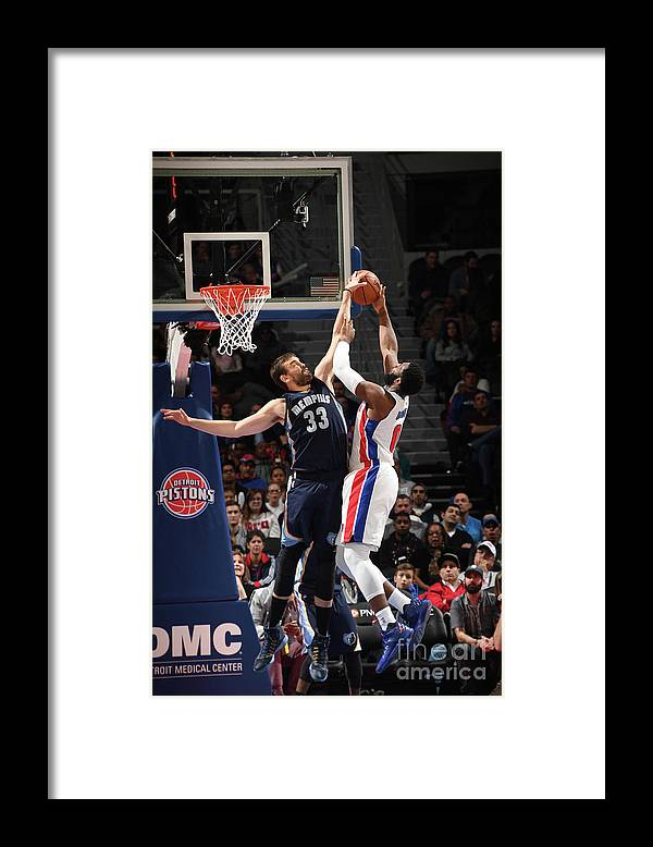 Nba Pro Basketball Framed Print featuring the photograph Marc Gasol and Andre Drummond by Chris Schwegler