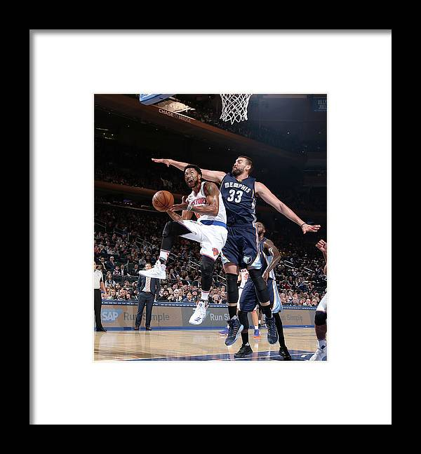 Nba Pro Basketball Framed Print featuring the photograph Marc Gasol and Derrick Rose by Nathaniel S. Butler