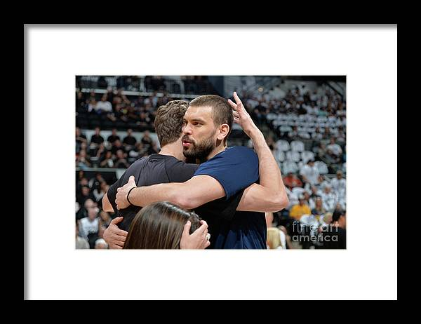 Playoffs Framed Print featuring the photograph Marc Gasol and Pau Gasol by Mark Sobhani