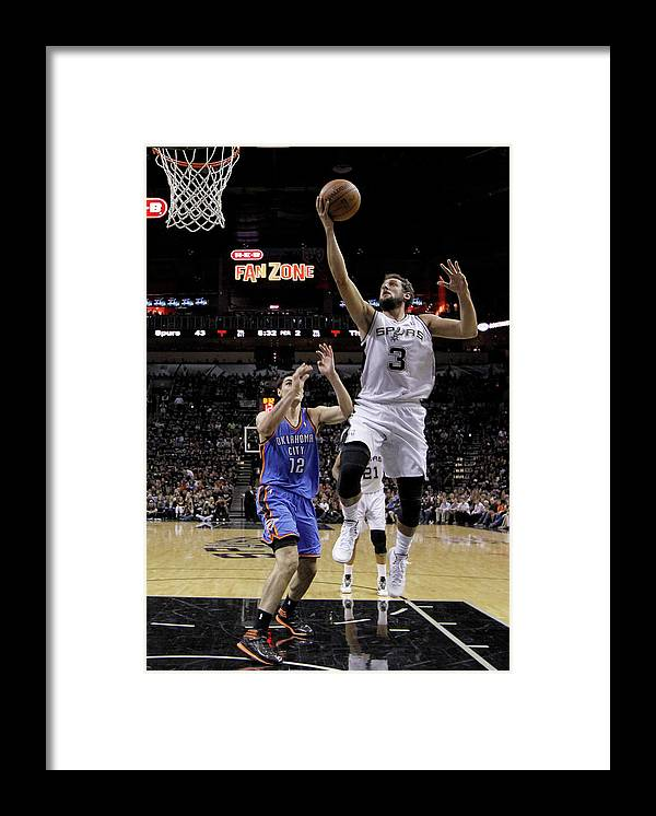 Playoffs Framed Print featuring the photograph Marco Belinelli and Steven Adams by Chris Covatta