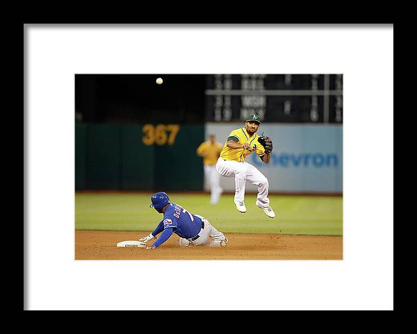 Double Play Framed Print featuring the photograph Marcus Semien and Shin-soo Choo by Ezra Shaw