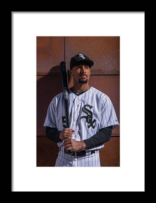 Media Day Framed Print featuring the photograph Marcus Semien by Rob Tringali