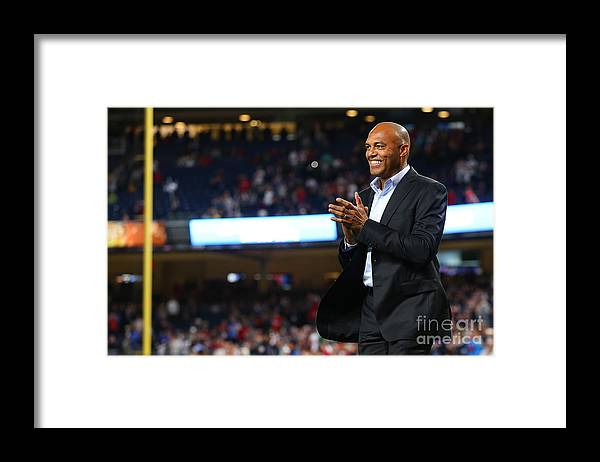 Three Quarter Length Framed Print featuring the photograph Mariano Rivera and David Ortiz by Mike Stobe
