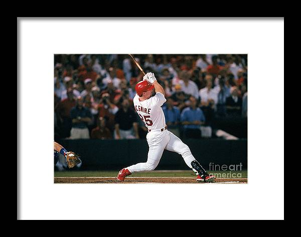 St. Louis Cardinals Framed Print featuring the photograph Mark Mcgwire And Roger Maris by Ron Vesely