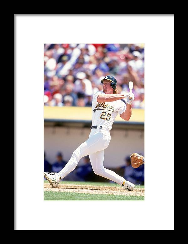 American League Baseball Framed Print featuring the photograph Mark Mcgwire by Jeff Carlick