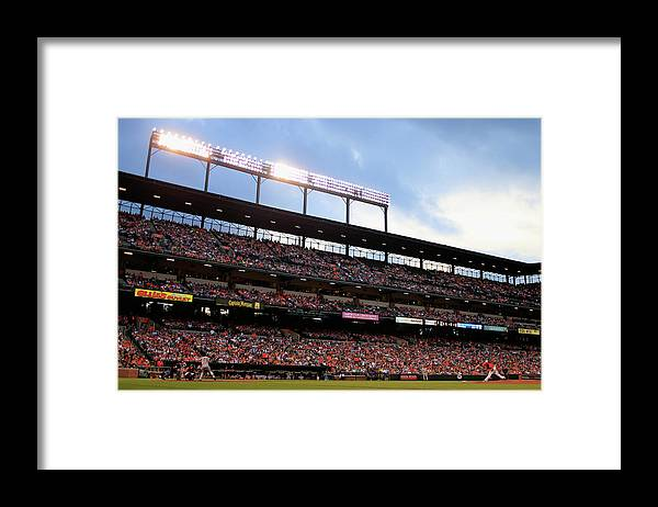 People Framed Print featuring the photograph Mark Teixeira and Bud Norris by Rob Carr