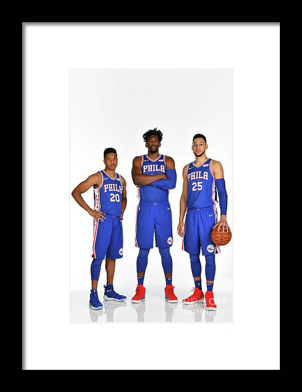 Media Day Framed Print featuring the photograph Markelle Fultz, Ben Simmons, and Joel Embiid by Jesse D. Garrabrant