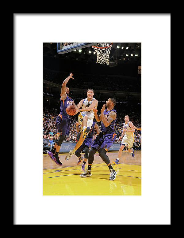 Nba Pro Basketball Framed Print featuring the photograph Markieff Morris, Klay Thompson, and Marcus Morris by Rocky Widner