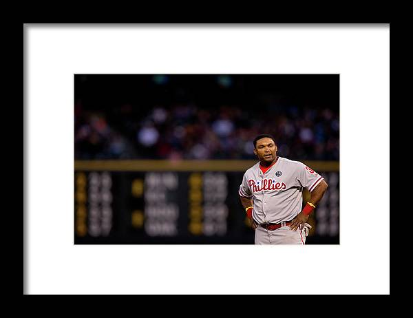Marlon Byrd Framed Print featuring the photograph Marlon Byrd by Justin Edmonds