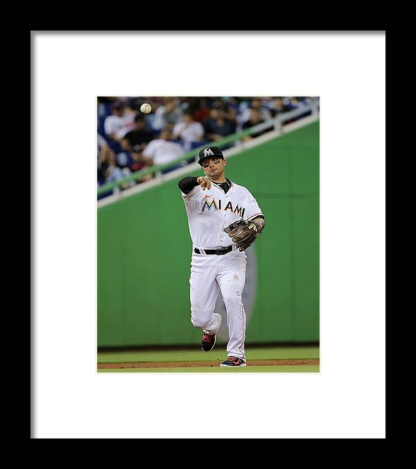 People Framed Print featuring the photograph Martin Prado by Mike Ehrmann