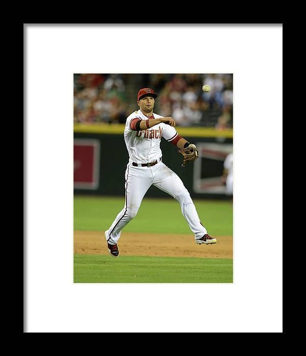 American League Baseball Framed Print featuring the photograph Martin Prado by Norm Hall