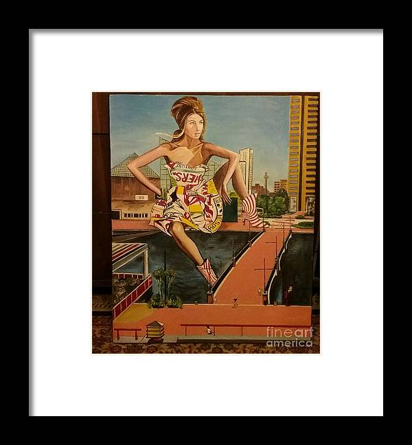 Framed Print featuring the painting Maryland, Inner Harbor, Baltimore by Jude Darrien