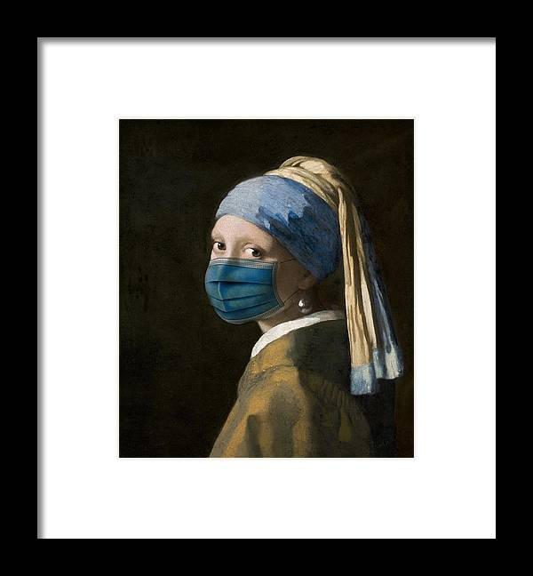 Coronavirus Framed Print featuring the digital art Masked Girl with a Pearl Earring by Nikki Marie Smith