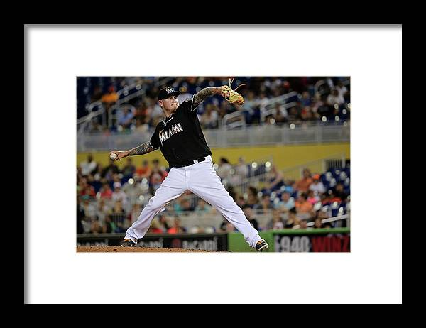 People Framed Print featuring the photograph Mat Latos by Mike Ehrmann