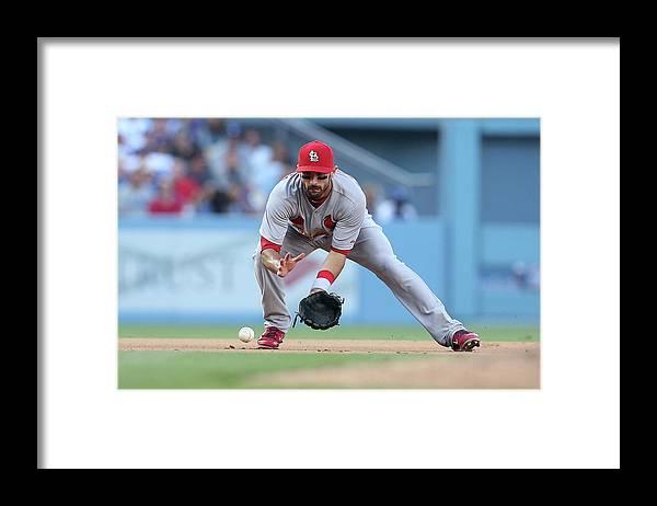 St. Louis Cardinals Framed Print featuring the photograph Matt Carpenter and A. J. Ellis by Stephen Dunn