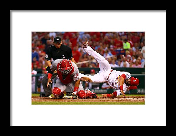 St. Louis Cardinals Framed Print featuring the photograph Matt Carpenter and Brayan Pena by Dilip Vishwanat