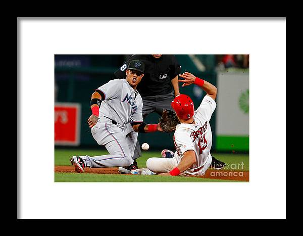 People Framed Print featuring the photograph Matt Carpenter And Starlin Castro by Dilip Vishwanat