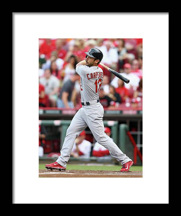 Great American Ball Park Framed Print featuring the photograph Matt Carpenter by Andy Lyons