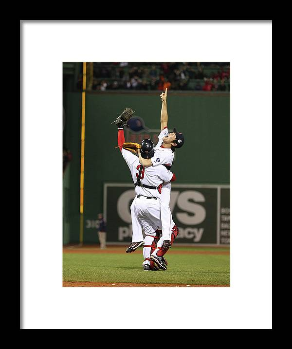 Playoffs Framed Print featuring the photograph Matt Carpenter, David Ross, and Koji Uehara by Brad Mangin