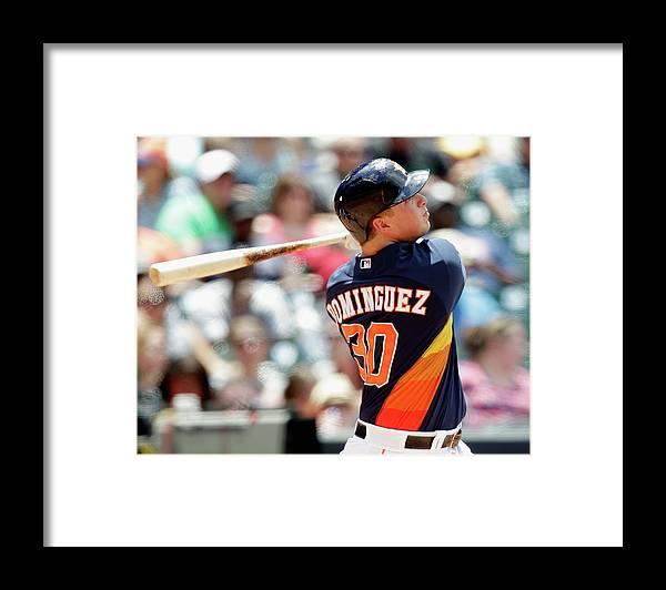 American League Baseball Framed Print featuring the photograph Matt Dominguez by Bob Levey