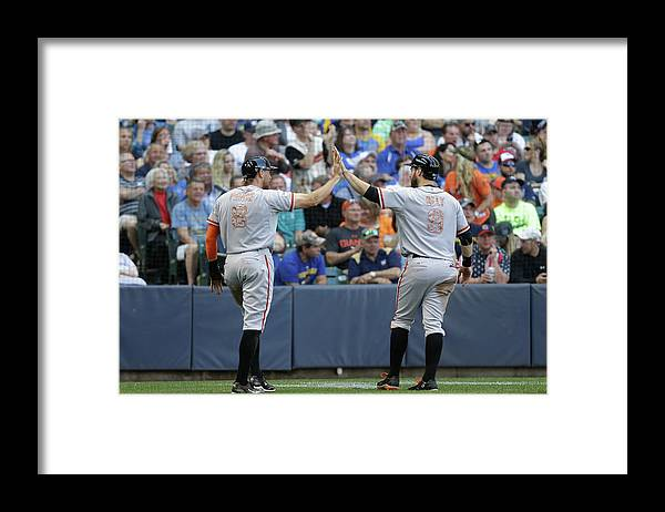 People Framed Print featuring the photograph Matt Duffy, Hunter Pence, and Brandon Belt by Mike Mcginnis