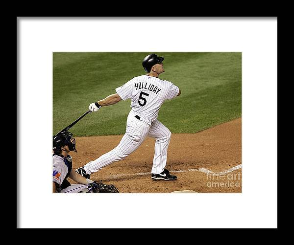 National League Baseball Framed Print featuring the photograph Matt Holliday and Dan Wheeler by Brian Bahr