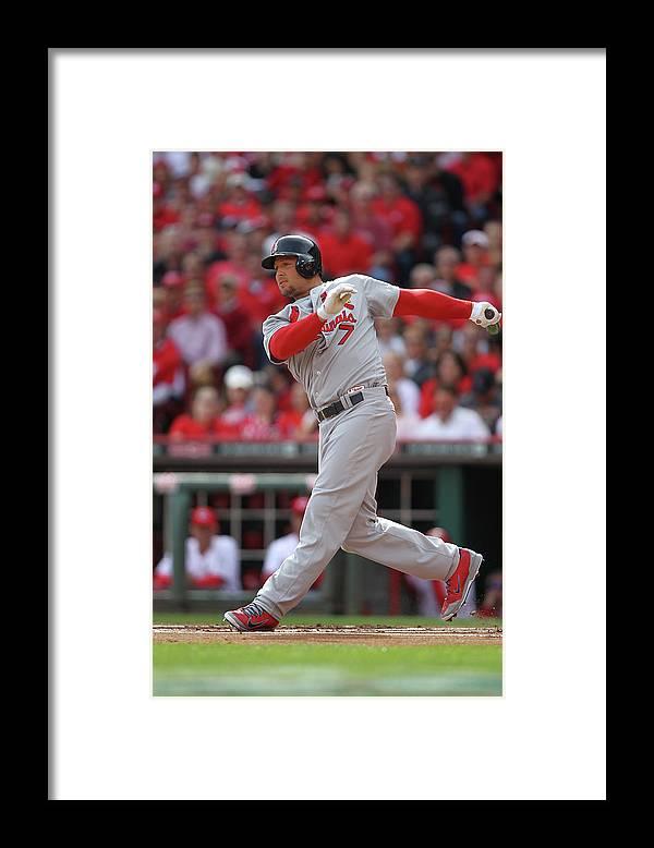 Great American Ball Park Framed Print featuring the photograph Matt Holliday by John Grieshop