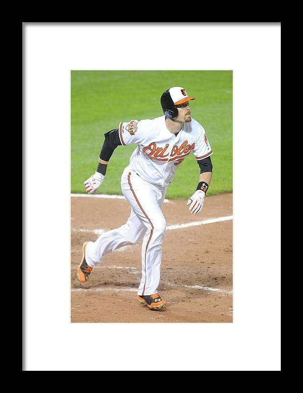 Game Two Framed Print featuring the photograph Matt Wieters by Mitchell Layton