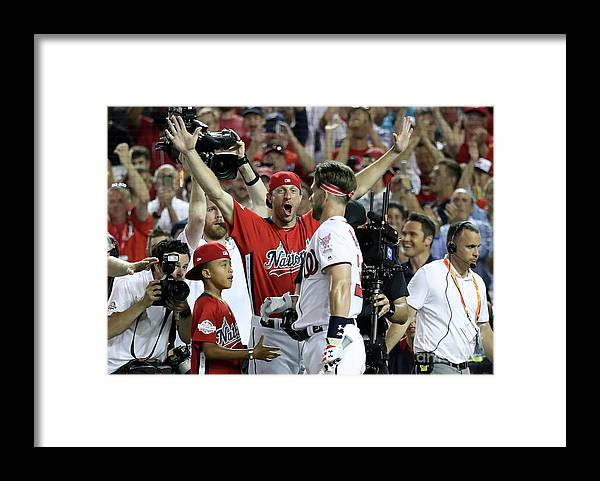 People Framed Print featuring the photograph Max Scherzer and Bryce Harper by Rob Carr
