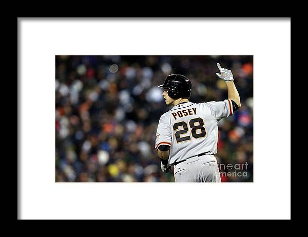 American League Baseball Framed Print featuring the photograph Max Scherzer and Buster Posey by Ezra Shaw