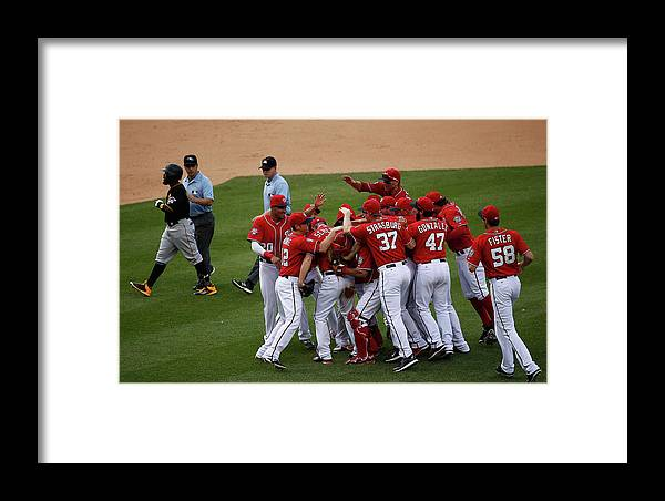 People Framed Print featuring the photograph Max Scherzer And Jose Tabata by Rob Carr