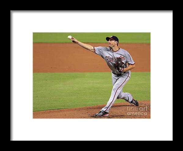 People Framed Print featuring the photograph Max Scherzer by Mike Ehrmann
