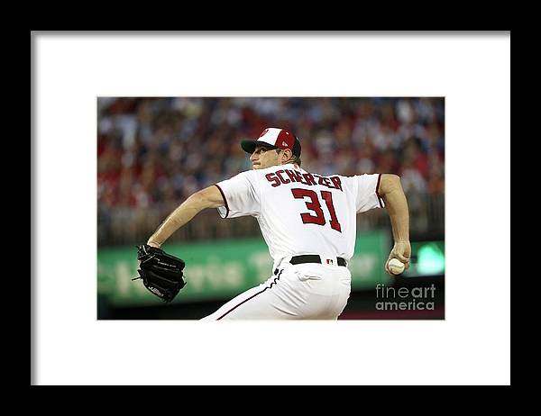 Three Quarter Length Framed Print featuring the photograph Max Scherzer by Patrick Smith