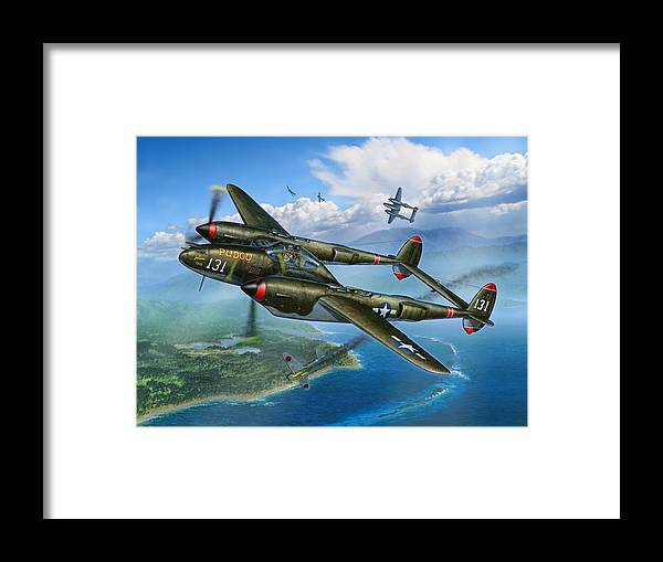 P-38 Framed Print featuring the painting McGuires Pudgy by Stu Shepherd