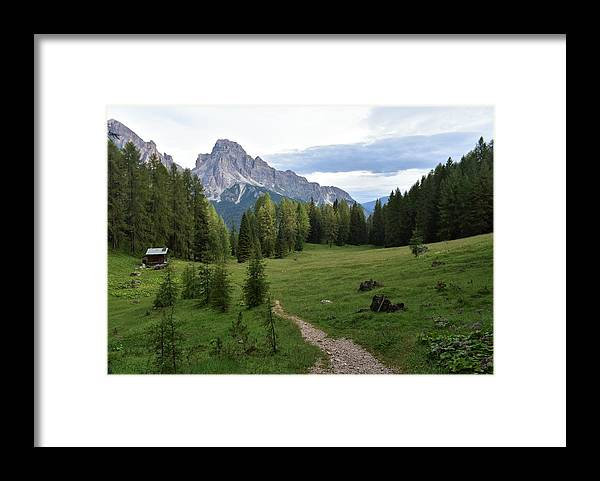 Dolomites Framed Print featuring the photograph Meadow in the dolomites by Luca Lautenschlaeger