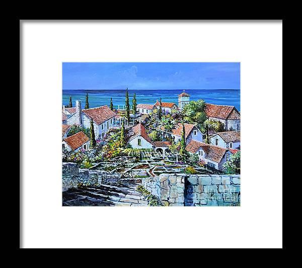 Original Painting Framed Print featuring the painting Mediterraneo by Sinisa Saratlic