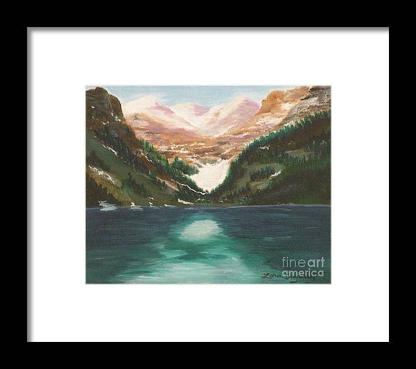 Mendenhall Glacier Framed Print featuring the painting Mendenhall Glacier Alaska by Lora Duguay
