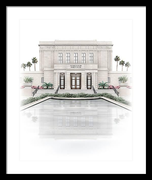 Mesa Framed Print featuring the digital art Mesa Temple - Celestial Series by Brent Borup