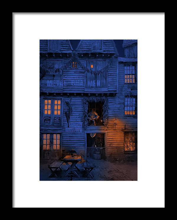 Diagon Alley Framed Print featuring the photograph Metalworks Shop At Diagon Alley by Cedric Hampton