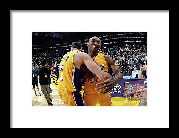 Nba Pro Basketball Framed Print featuring the photograph Metta World Peace and Larry Nance by Andrew D. Bernstein