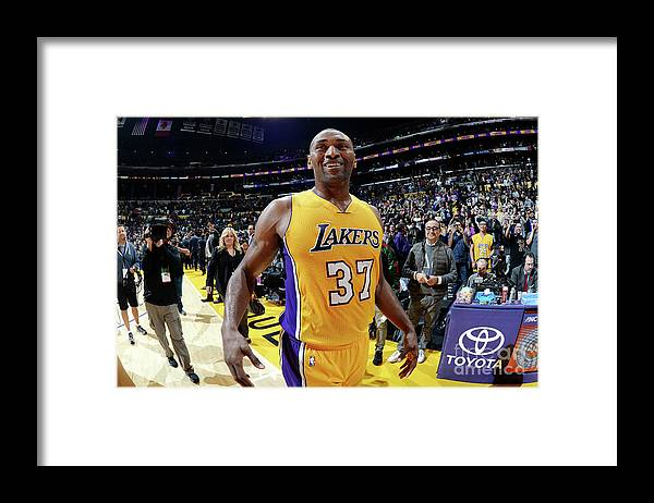 Nba Pro Basketball Framed Print featuring the photograph Metta World Peace by Andrew D. Bernstein