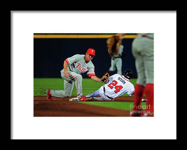 Atlanta Framed Print featuring the photograph Michael Bourn and Chase Utley by Scott Cunningham