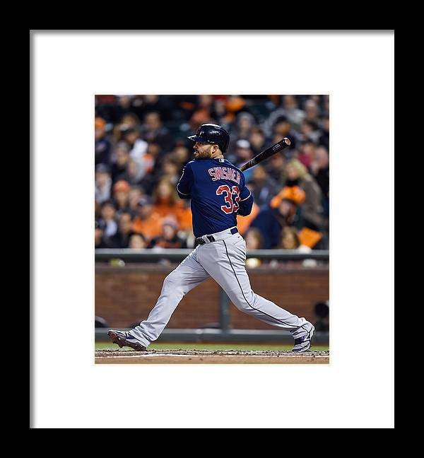 San Francisco Framed Print featuring the photograph Michael Bourn and Nick Swisher by Thearon W. Henderson