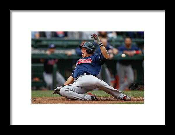 American League Baseball Framed Print featuring the photograph Michael Brantley and Asdrubal Cabrera by Otto Greule Jr